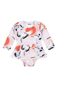 Baby Girls Pink Organic Cotton Cranes Bodysuit Dress