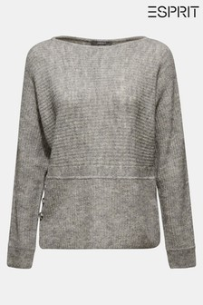 Esprit Grey Boat Neck Sweater With Button Details