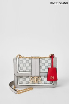 River Island Grey Light Checkerboard Satchel