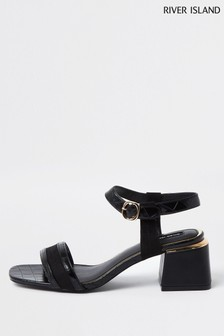 River Island Black Splice Block Heel Sandals