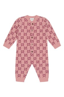 Baby Pink Wool Knitted GG Romper