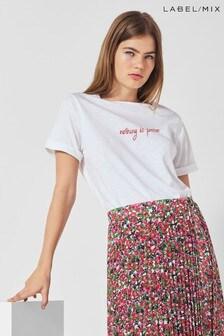 Next/Mix Embroidered Slogan T-Shirt