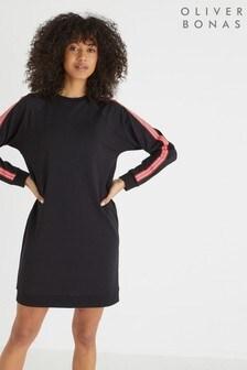 Oliver Bonas Stripe Trim Black Sweat Dress