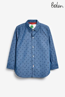Mini Boden Blue Casual Laundered Shirt