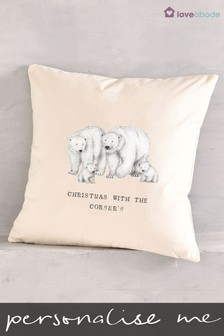 Personalised Polar Bear Family Christmas Cushion by Loveabode