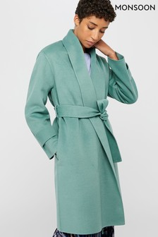 Monsoon Green Bella Belted Wrap Coat