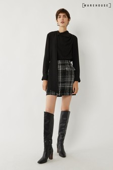 Warehouse Black Check Sparkle Tweed Mini Skirt