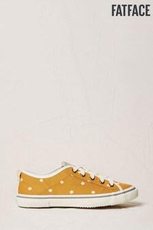 FatFace Mustard Organic Polka Dot Lace-Up Trainers