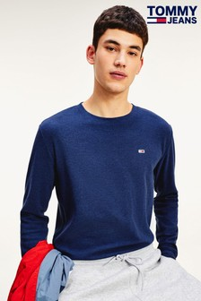 Tommy Jeans Blue Mini Waffle Long Sleeve T-Shirt