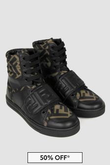 Fendi Kids Black/Brown Leather Logo Trainers