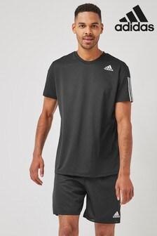 adidas Black Aero 3 Stripe T-Shirt