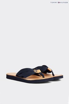 Tommy Hilfiger Blue Leather Footbed Beach Sandals