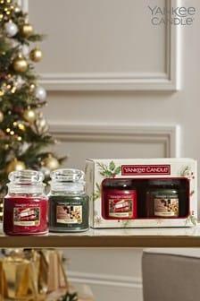 Set of 2 Yankee Candle Christmas Medium Candle Jars Gift Set