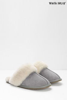 White Stuff Grey Shearling Suede Mules