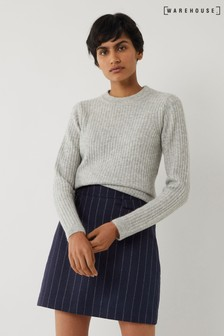 Warehouse Blue Striped Pelmet Mini Skirt