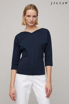 Jigsaw Blue Bardot V-Neck 3/4 Sleeve Top