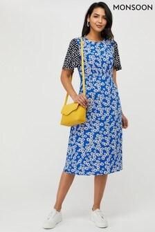 Monsoon Blue Delta Print Midi Dress
