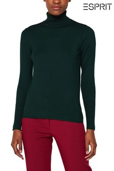 Esprit Green Boat Neck Sweater With Button Details