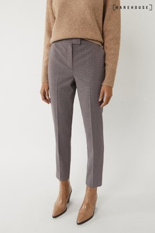 Warehouse Black Check Slim Leg Trousers