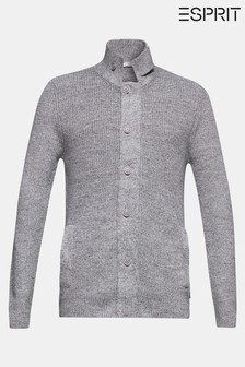 Esprit Grey Rib Cardigan With Hidden Zip Closure