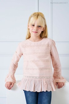 Angel & Rocket Pink Cotton Broderie Top
