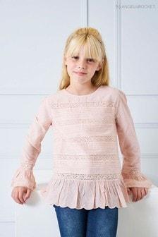 Розовый хлопковый топ с вышивкой Angel & Rocket