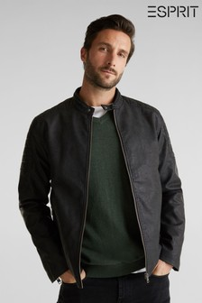 Esprit Mens Black Faux Leather Outdoor Jacket