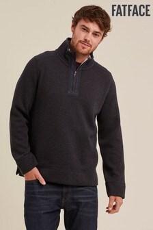 FatFace Blue Haxby Bonded Fleece Half Neck Sweater