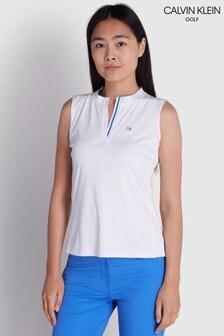 Calvin Klein Golf White Verde Sleeveless Polo