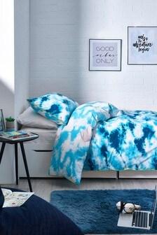 Tie Dye Effect Reversible Duvet Cover and Pillowcase Set