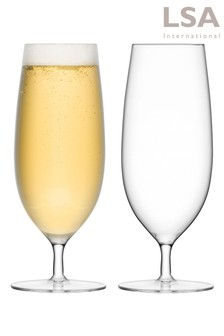Set of 2 Bar Pilsner Glasses by LSA International