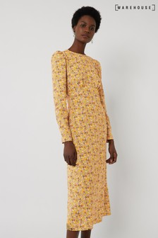 Warehouse Yellow Ditsy Floral Midi Dress