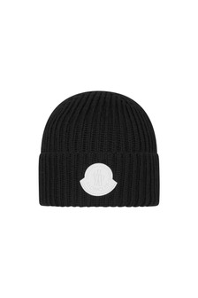 Boys Black Wool Logo Hat