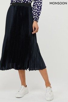 Monsoon Ladies Blue Penny Pleated Skirt
