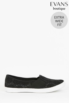 Evans Extra Wide Fit Black Lace Skater Trainers