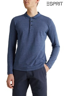 Esprit Blue Long Sleeve With Crew Neck Polo