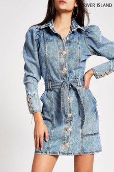 River Island Denim Medium Puff Sleeve Shirt Dress