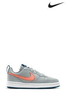 Nike Grey/Pink Court Borough Low Youth Trainers