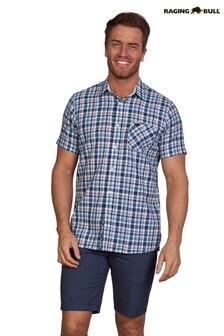 Raging Bull Red Short Sleeve Brit Check Shirt