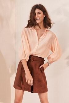 Linen Belted Shorts