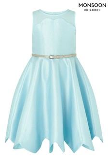 Monsoon Blue Shelley Scalloped Dress