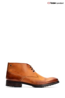 Base London® Tan Bramley Burnished Lace-Up Ankle Boots