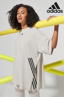 adidas Light Grey 3 Stripe Oversized T-Shirt