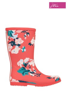 Joules Red Jnr Roll Up Wellies