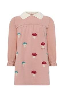 Baby Girls Pink Piquet Embroidered Dress