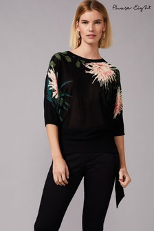 Phase Eight Black Breanna Floral Knit Top