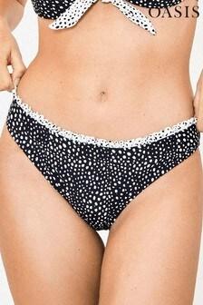 Oasis Black Spot Frill Bikini Bottoms