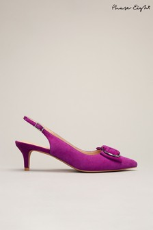 Phase Eight Purple Ramona Ring Bow Kitten Heel Shoes