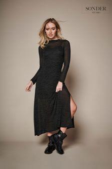 Sonder Studio Khaki Zebra Print Midi Dress
