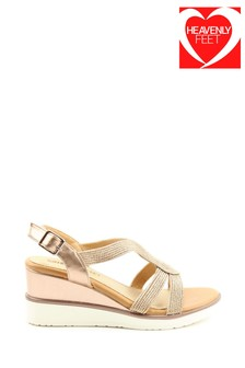 Heavenly Feet Marin Ladies Gold High Wedge Sandals